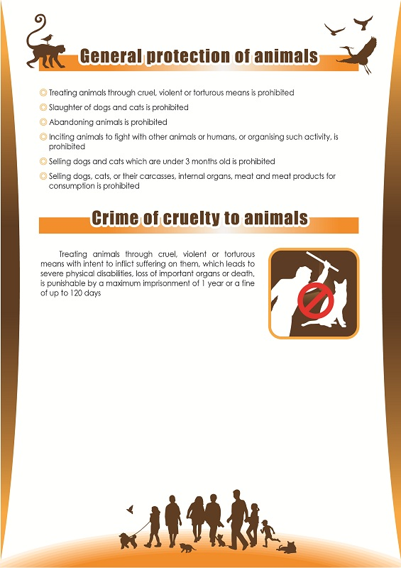 General protection of animals, crime of cruelty to animals