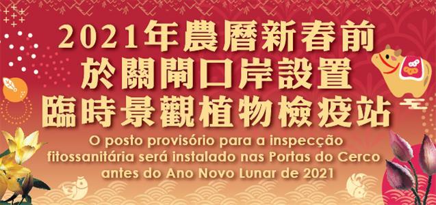 Instruções a observar no transporte de plantas de decoração para Macau durante o período do 28.º ao 30.º dia do calendário chinês