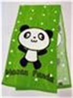Towel with panda print (green)
